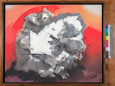 Grey and Red, 1995, Acrylic on canvas, 32 x 40 in.