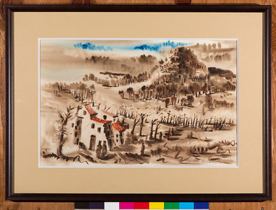Untitled (Italy, either The Sentry or Partisans in Udine or Patrol or Soldiers in Girls), 1945, Watercolor,13 x 20 1/2 in.