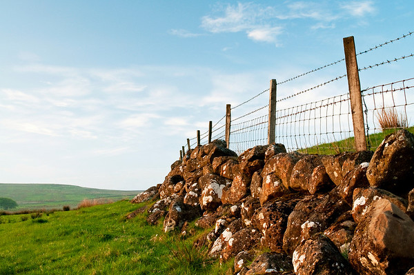 A sunlit stone wall on the slopes of Slemish, County Antrim
