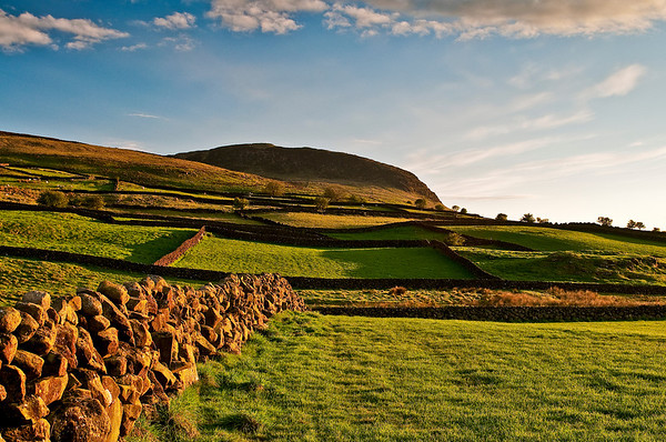 Fields below Slemish, Co Antrim as sunset approaches.