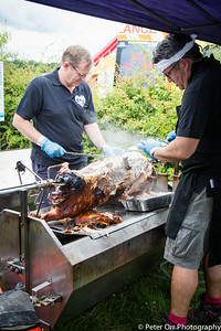The hog roast in preparation
