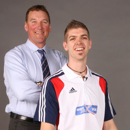 Four-time Olympic gold medallist and chairman of Team 2012 Fundraising Sir Mathew Pinsent and Matt Roberts, one of Great Britain's most promising high jumpers.