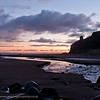 Sunrise over Mussenden Temple. Viewed from Downhill Beach.