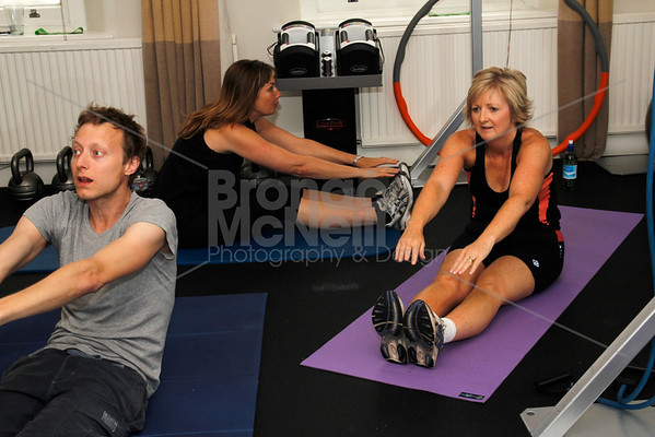 Daniel Smart, Alison Marcuse-Harris and Sally Evans. You magazine readers training day with James Duigan and the Bodyism team, London, 18th June 2011. ©BronacMcNeill