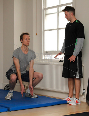 Daniel Smart and Lee from Bodyism.You magazine readers training day with James Duigan and the Bodyism team, London, 18th June 2011. ©BronacMcNeill