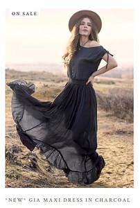 Gia Dress in Charcoal