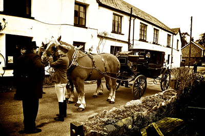 Outside the Stag Hunters Inn, Brendon, Exmoor. This scene could be from almost any time in the history of photography.