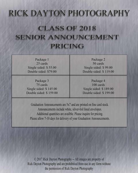 Senior Announcements Class of 2018
