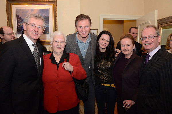 Ireland's Consul General in New York Noel Kilkenny with Baroness May Blood, Liam Neeson, actress  Geraldine Hughes, Chair of the American Ireland Fund Loretta Brennan Glucksman and Norman Houston,Director of the Northern Ireland Bureau in Washington DC at the Fitzpatrick Grand Central Hotel.<br /> Tuesday Feb. 28, 2012.<br /> Photo: James Higgins
