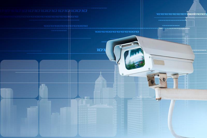 Security Camera or CCTV on digital background