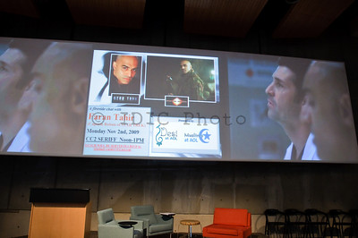 Seriff auditorium setup -- video clips of Faran Tahir from Iron Man, Star Trek, Grey's Anatomy were streaming