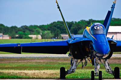 Boeing F/A-18 Hornet of the US Navy Blue Angels. Parked on the tarmac at Andrews Airforce base before the aerial performance. Joint Services Open House 2010