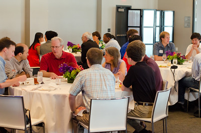 Alumni and students networking with Dean of SCS - Randy Bryant.  CMU SCS / ECE Alumni Networking Luncheon - July 16, 2011
