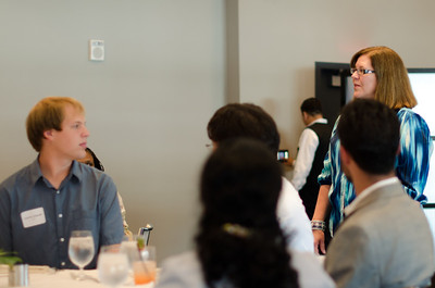 Susan Farrington kicking off the event.  CMU SCS / ECE Alumni Networking Luncheon - July 16, 2011