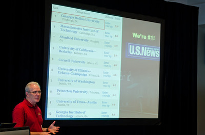 CMU SCS Dean discussing department's #1 ranking per U.S. News and World Report for Computer Science.  CMU SCS / ECE Alumni Networking Luncheon - July 16, 2011