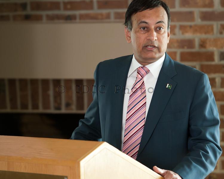 Ambassador Haqqani addressing the audience
