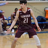 Cody Foshee (21) of Tenaha defends at midcourt in the Class 2A Region III Semifinals at Leon High School.