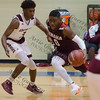 Tenaha's Trai Gardner (0) drives towards the basket in the Class 2A Region III Semifinals at Leon High School.