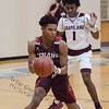 Grapeland's BJ Howard (1) guards against Tenaha in the Class 2A Region III Semifinals at Leon High School.