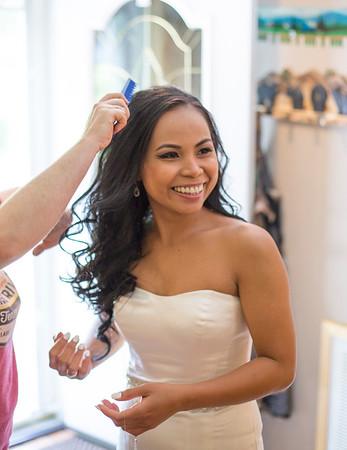 Bride combing hair