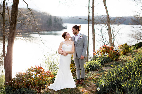 Lakeside bridal portrait by Everbright Photography at Gallaher Bend, Knoxville TN