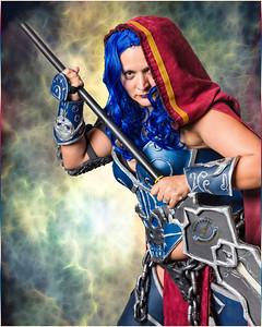Blue Haired Warrior Girl-Warm