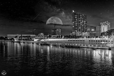 Floridian-Riverwalk-Nighttime-B&W-Moon-26