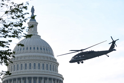 Emergency training exercise at U.S. Capitol with military helicopters