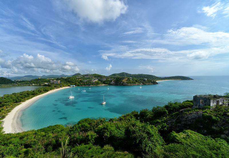 View of Deep Bay from Fort Barrington, Antigua, by Ted Lee Eubanks.