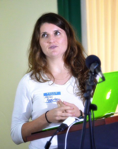 Holly Robertson addressing the EAG avitourism workshop in Antigua, 25 June 2013, by Ted Lee Eubanks.