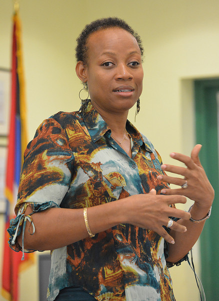 Hyacinth Techeira speaking at the Antigua avitourism workshop, 26 June 2013, by Ted Lee Eubanks.