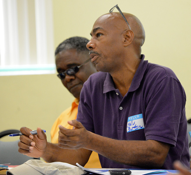 Kelly Burton participating in the EAG avitourism workshop in Antigua, 26 June 2013, by Ted Lee Eubanks.