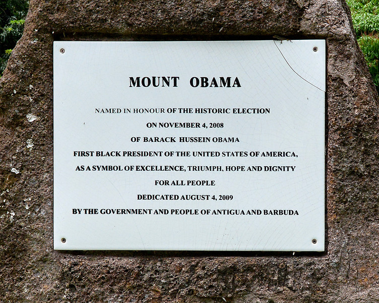 Mount Obama plaque, Antigua, 2013