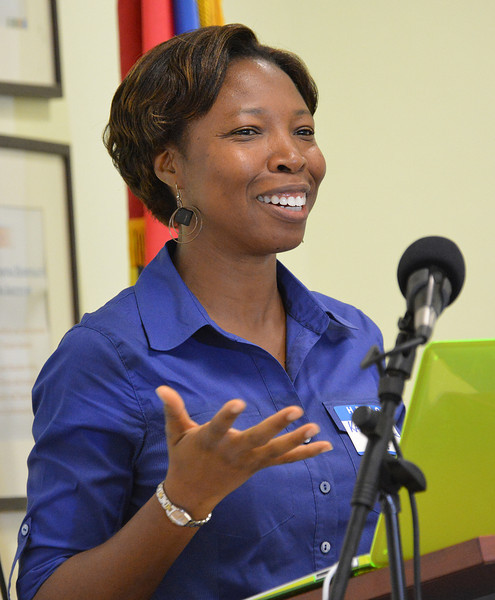 Dr. Karron James-Scholl welcoming participants to the Antiguan avitourism workshop, 25 June 2013, by Ted Lee Eubanks.