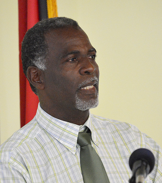 Joseph (Junior) Prosper addressing the Antiguan avitourism workshop, 25 June 2013, by Ted Lee Eubanks.