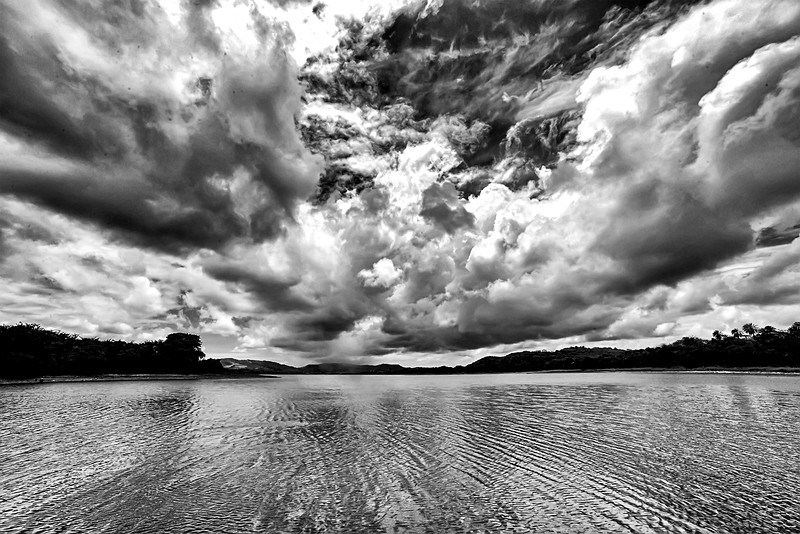 Potworks Reservoir (black and white), Antigua, 2013