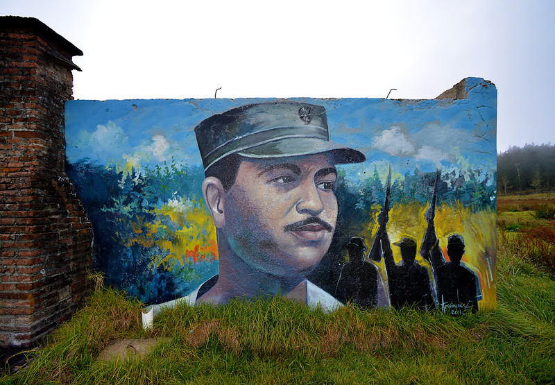 Portrait of unknown provenance photographed near the site where Colonel Francisco Caamaño Deño, former guerilla leader, general, and president, was murdered while fighting the regime of President Joaquín Balaguer.