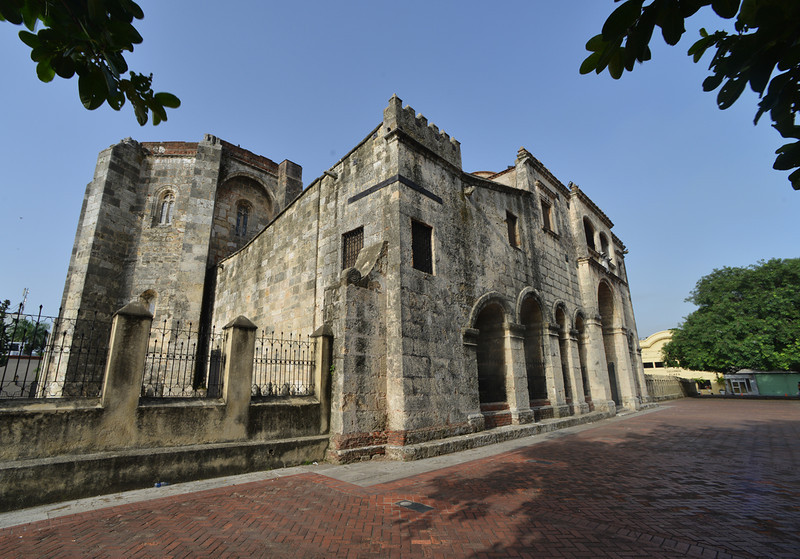 The Catedral Primada de America, the oldest church in the New World. The church is located in the Parque Colon in Santo Domingo.