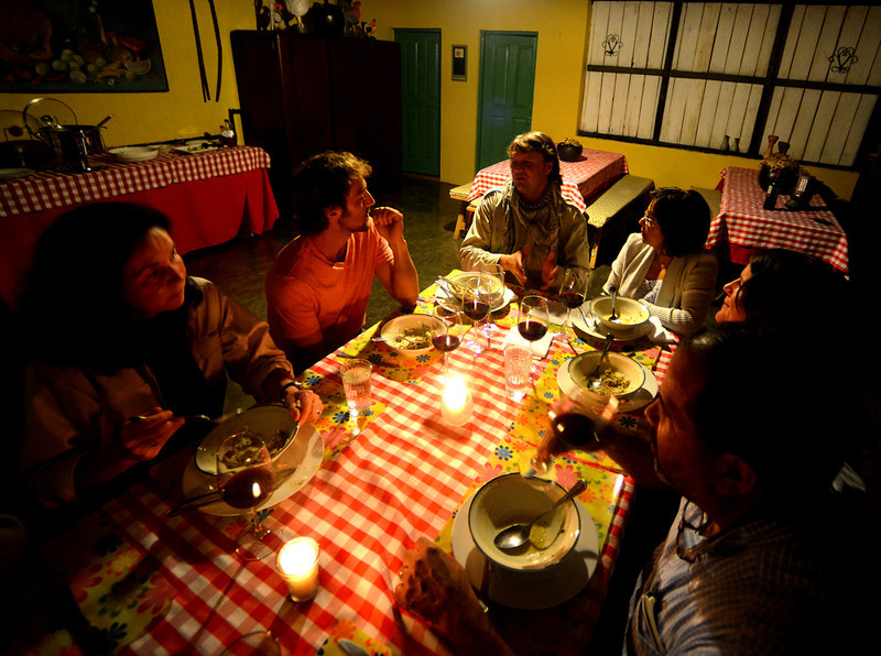 Our group enjoying a late meal with friends at Villa Pajon (from the left: Lisa, Justin, Jorge, Rosa, Holly, and Dielo)