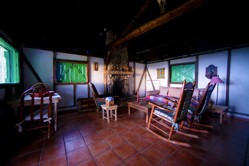 Interior of a cabin at Villa Pajon