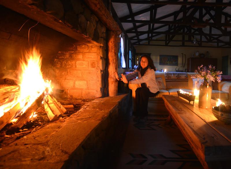 Lisa staying warm at Villa Pajon