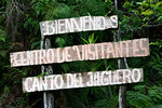 Entrance sign at Canto del Jilguero, Cachote, Sierra de Bahoruco Oriental