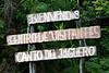 Entrance sign at Canto del Jilguero, Cachote, Sierra de Bahoruco Oriental