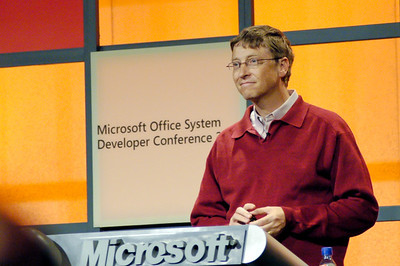 Bill Gates addresses a room full of developers at the Microsoft Office Developer Conference in Redmond, WA.