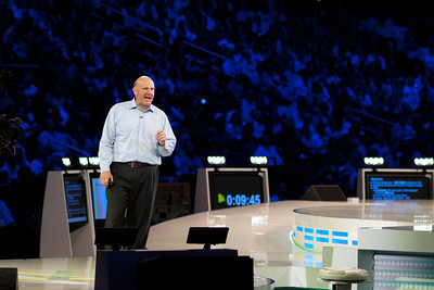 Steve Ballmer (Microsoft CEO) addresses the crowd at the Worldwide Partner Conference at Staples Center in Los Angeles, CA.