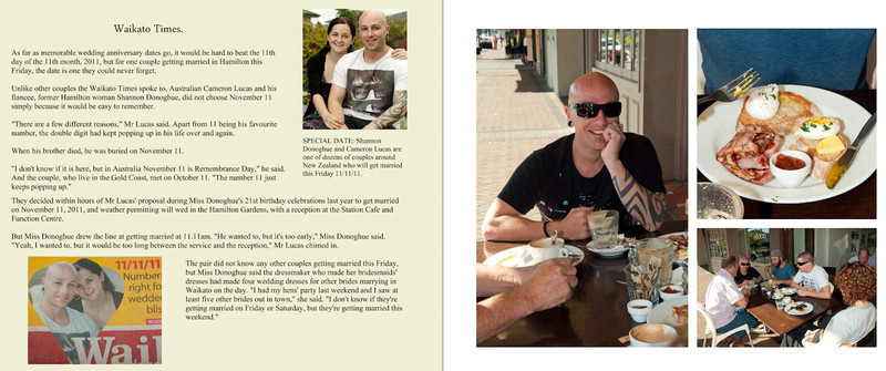 Pages 3 & 4 - Page 3 is the article on the couple in the Waikato Times for getting married on 11-11-11