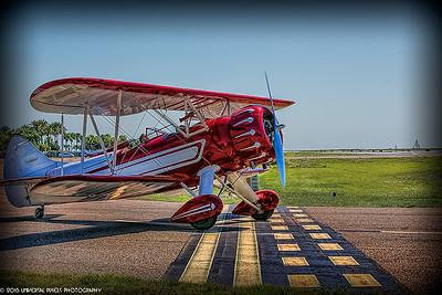 Airplanes Vintage Bi-Plane on Runway