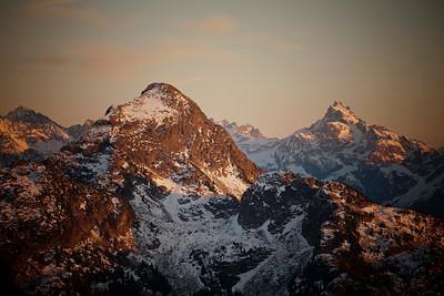 Evening light on Williams Peak and Mount Redoubt.