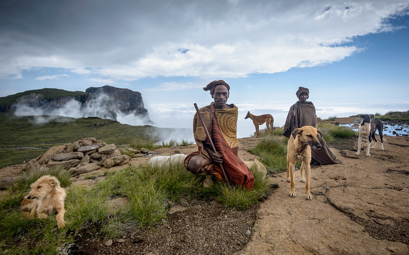 Basotho Men And Their Dogs On The Drakensberg Escarpment