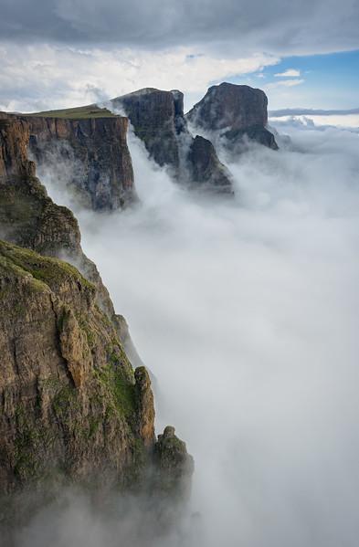 Low Lying Cloud Against The Drakensberg Amphitheatre